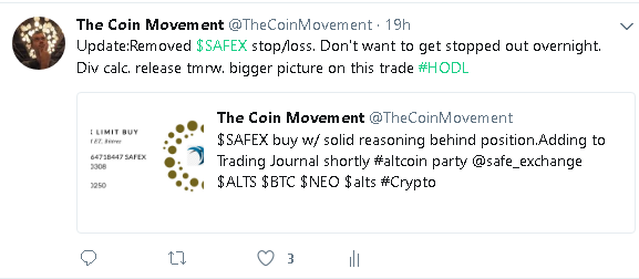 SAFEX stopped out tweet